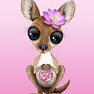 Zen-Baby-Känguru mit rosa Yoga Om-Symbol von jeff bartels