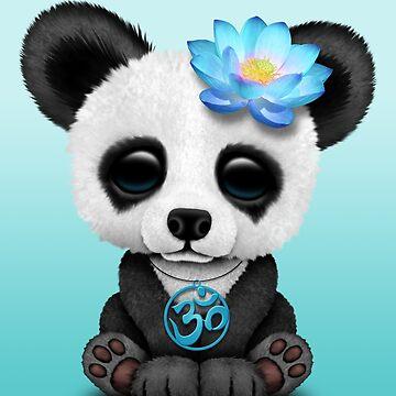 Panda del bebé zen con símbolo de yoga azul om de JeffBartels