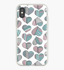 Hearts striped iPhone Case