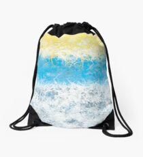 Surf's Up - vivid blue water, choppy white foam, yellow sunshine, and riding the waves!  Drawstring Bag