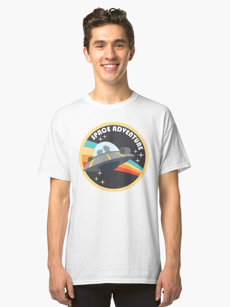 Alternate view of space adventure RICK AND MORTY yellow Classic T-Shirt