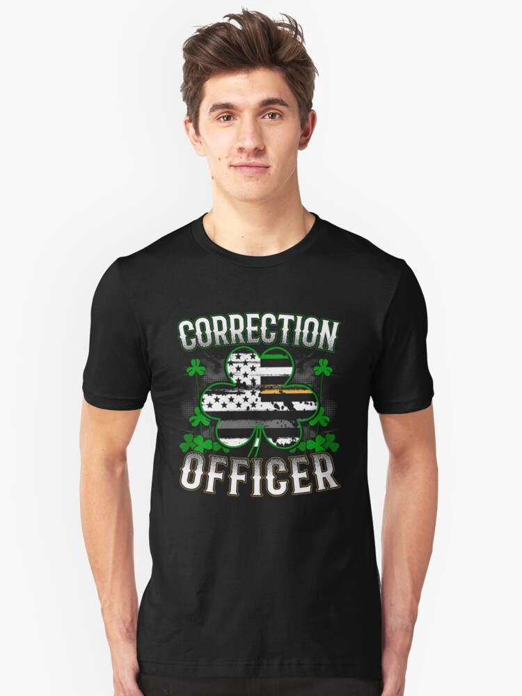 ff7bc27b Thin Silver Line St Patricks Day Correction Officer Law Enforcement Art  Unisex T-Shirt
