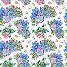 Handgemaltes saftiges Blumenmuster des Aquarells von Tasha-zen