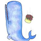 A sperm Whale and a bowl of petunias, falling. by TakoraTakora