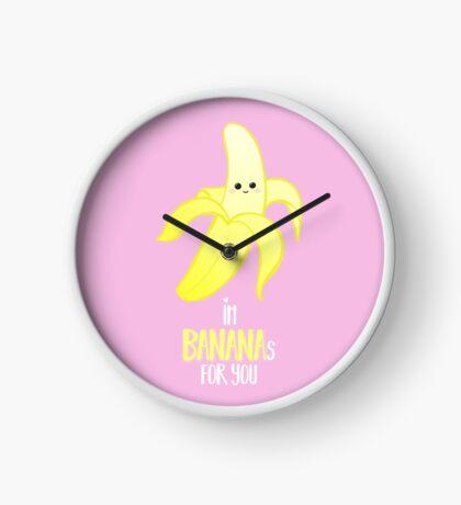 I'm BANANAS for you - Valentines Day - Anniversary - Valentine's Puns - Anniversary Puns - Funny Card - Funny Gifts - Banana Pun - Fruit Pun Clock
