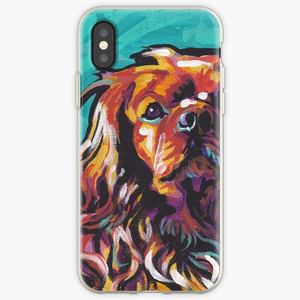 cavalier king charles spaniel perro colorido brillante perro pop art Funda y vinilo para iPhone