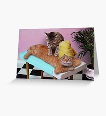 Lustige Katzenmassage Grußkarte
