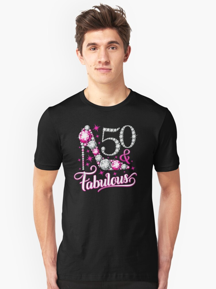 50th Birthday T Shirt Fifty And Fabulous For Ladies Women