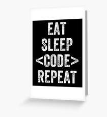 Tarjeta de felicitación eat sleep code developer - Programador divertido diciendo