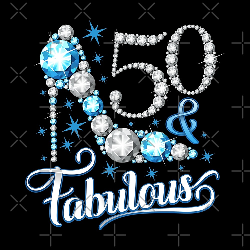 """Silhouette Fifty Fab Woman: """"50th Birthday T-shirt. Fifty And Fabulous T Shirt For"""