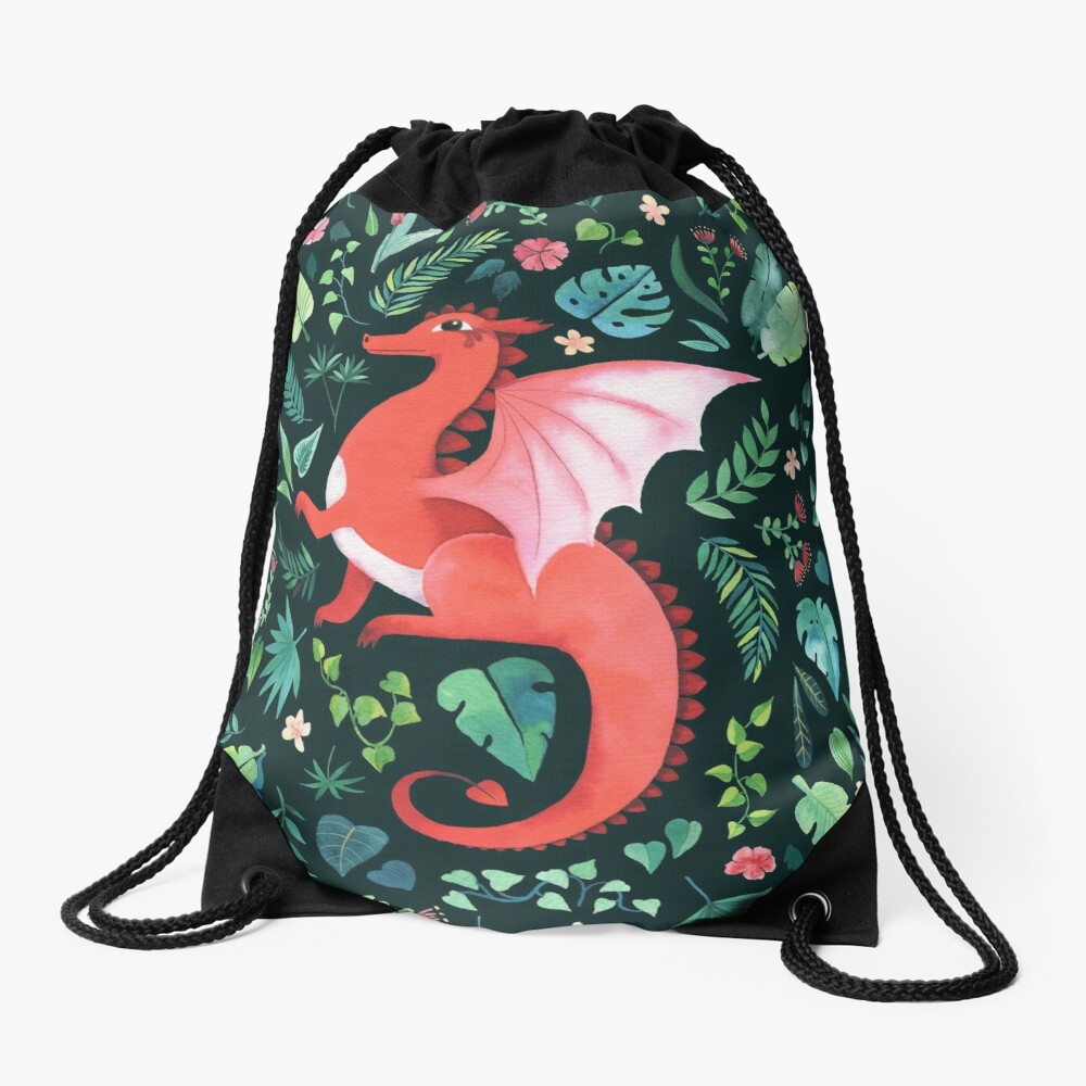 Tropical Dragon Drawstring Bag