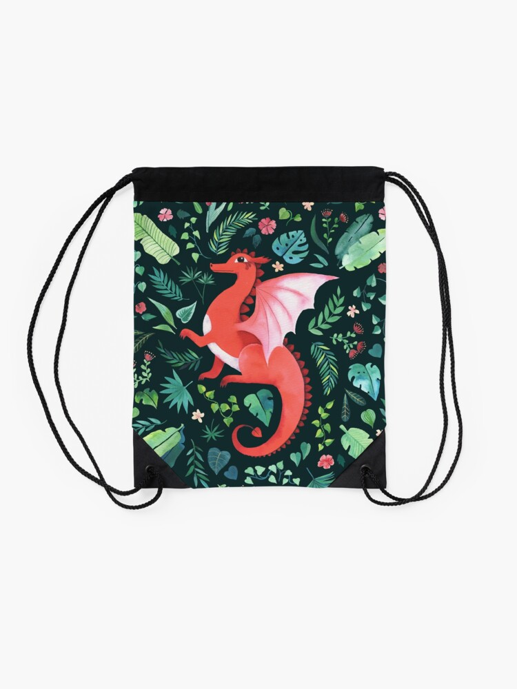 Alternate view of Tropical Dragon Drawstring Bag