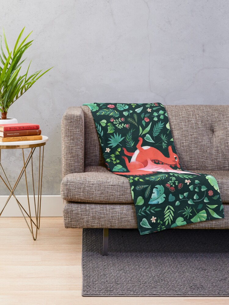 Alternate view of Tropical Dragon Throw Blanket