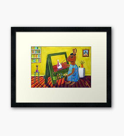300 - ARTIST BUNNY - DAVE EDWARDS - COLOURED PENCILS & INK - 2010 Framed Print