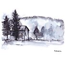 Little Farm House Watercolor with Trees and Mountain by Kendra Shedenhelm
