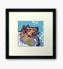 Rough Collie Dog Bright colorful pop dog art Framed Print