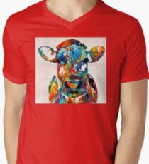 Colorful Cow Art - Mootown - By Sharon Cummings Mens V-Neck T-Shirt
