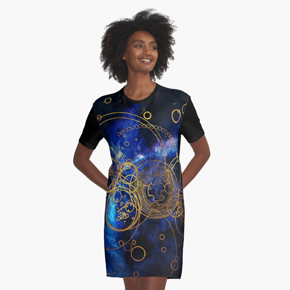 Time Lord Writing (blue) Graphic T-Shirt Dress