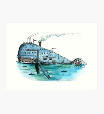 Steamboat Whale Art Print