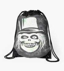 HATBOX GHOST WITH GRUNGY HAUNTED MANSION WALLPAPER Drawstring Bag