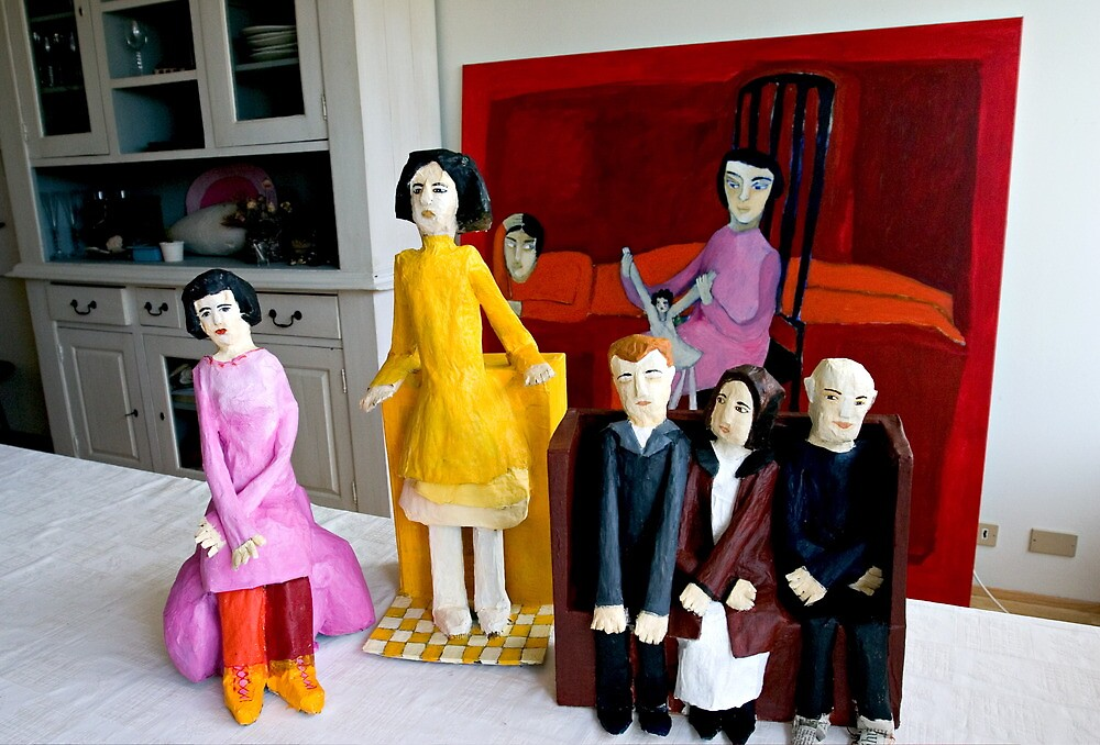 paper people infront of painting by saravilbergs
