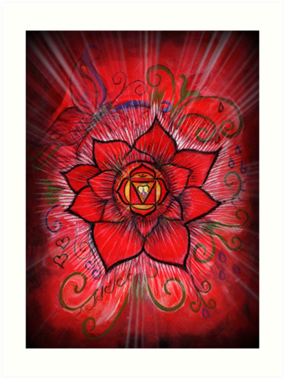 Root chakra red lotus flower art prints by sheridon rayment redbubble root chakra red lotus flower by sheridon rayment mightylinksfo
