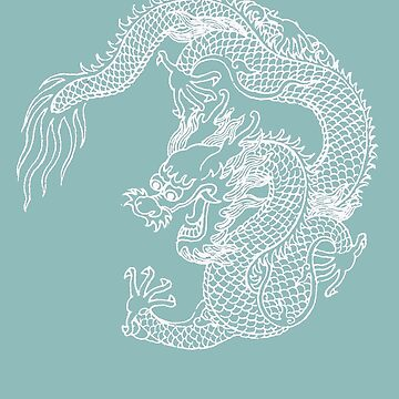 White Asian Art Dragon by Zehda