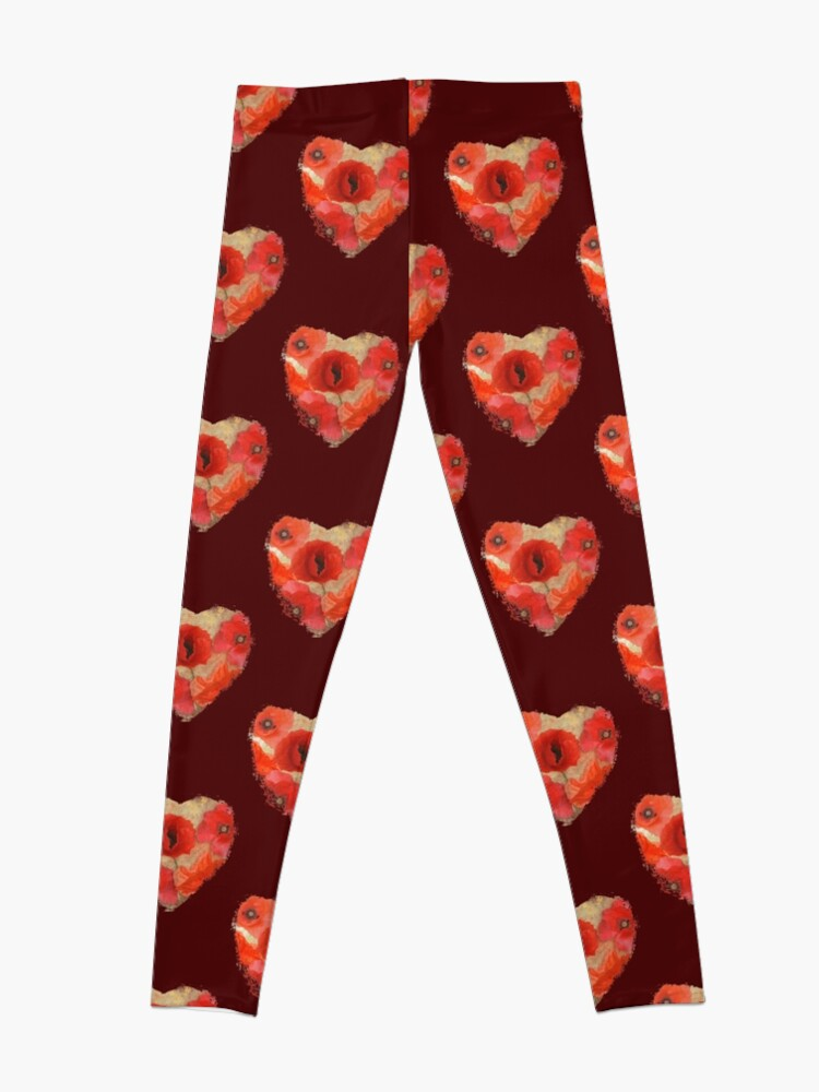 Alternate view of Red as poppies can be Leggings