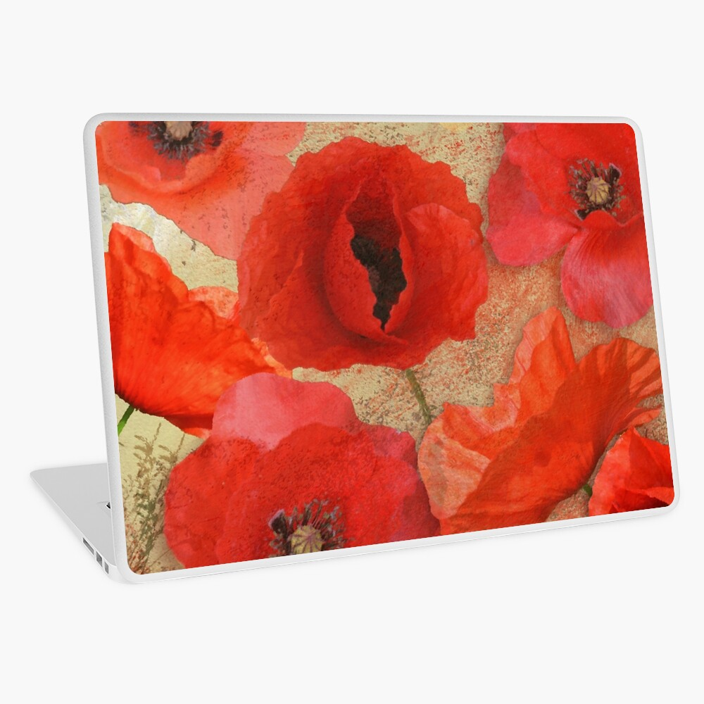 Red as poppies can be Laptop Skin