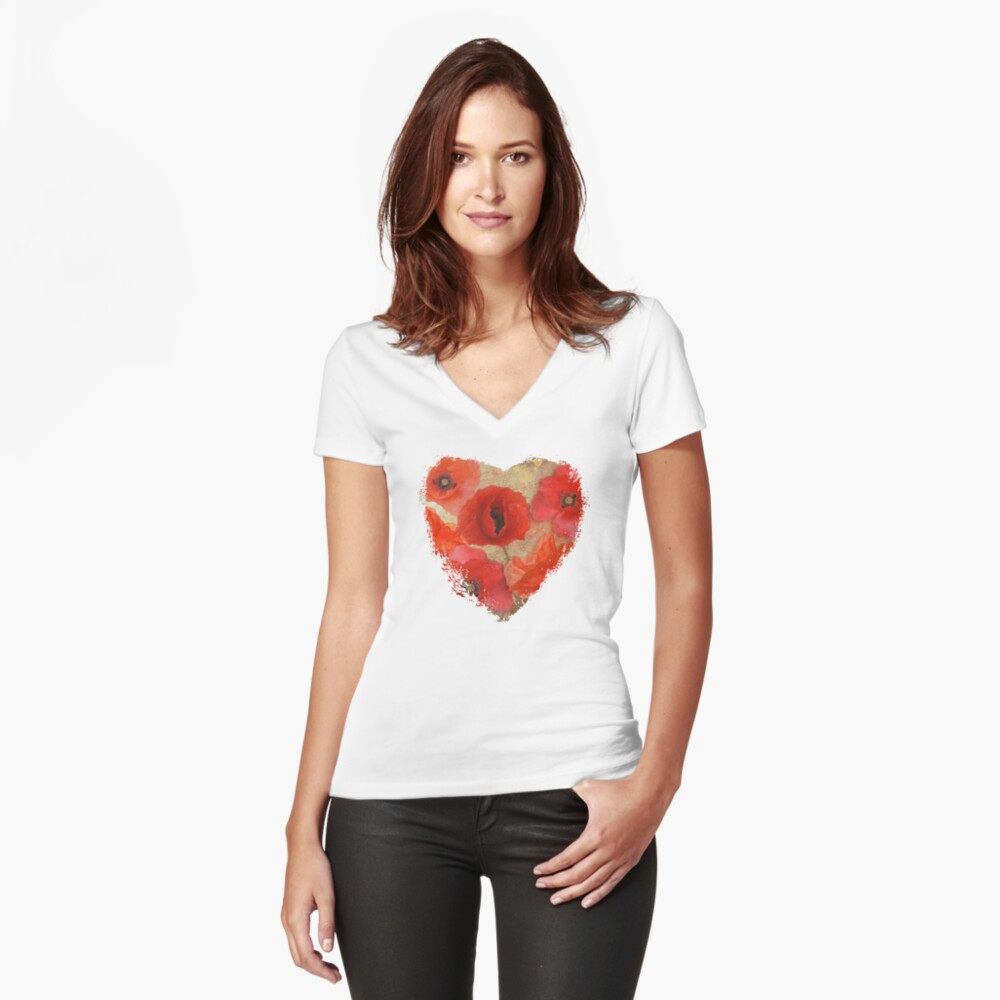 Red as poppies can be Fitted V-Neck T-Shirt