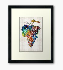 Colorful Grapes Fruit Art by Sharon Cummings Framed Print