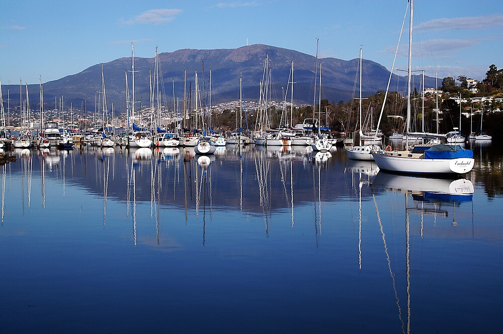 Boats In Hobart, Tasmania, Australia. by Ralph de Zilva