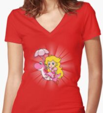 Yoshi and Chibi Peach Women's Fitted V-Neck T-Shirt