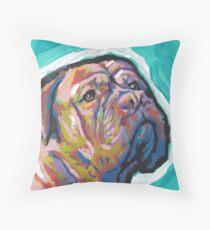 Dogue De Bordeaux Dog Bright colorful pop dog art Throw Pillow