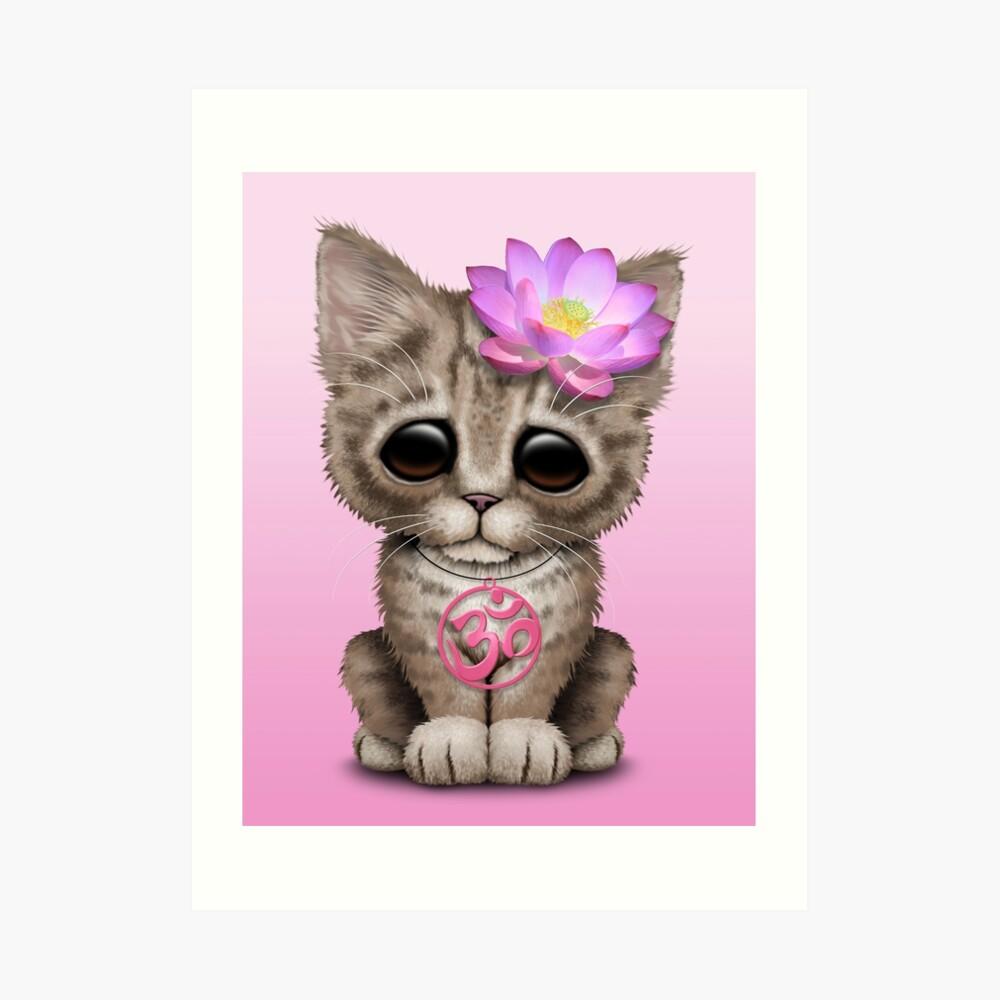 Zen Baby Kitten mit rosa Yoga Om Symbol Kunstdruck