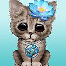 Zen-Baby-Kätzchen mit blauem Yoga OM-Symbol von jeff bartels