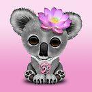 Zen Baby Koala mit rosa Yoga Om Symbol von jeff bartels