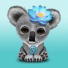 Zen Baby Koala mit blauem Yoga Om Symbol von jeff bartels