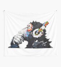 Banksy DJ Monkey Thinker with Headphones White Wall Tapestry