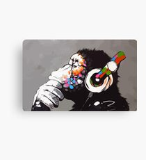 Banksy DJ Monkey Denker mit Kopfhörer Leinwanddruck