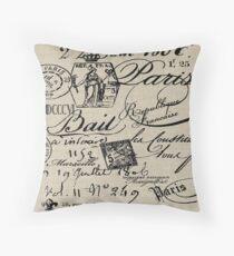 French Script Pillow Throw Pillow