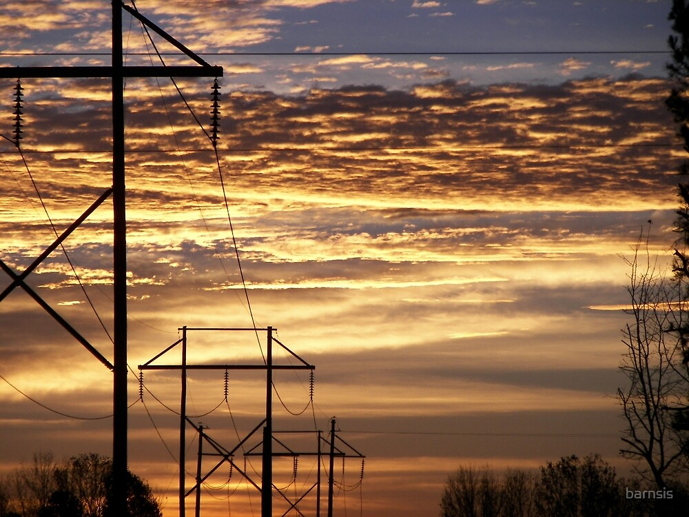 Sunrise on the Power Line by barnsis