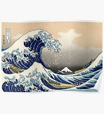 'The Great Wave Off Kanagawa' by Katsushika Hokusai (Reproduction) Poster