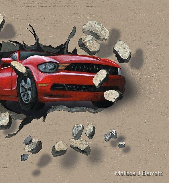 Fast Red Car Crashes Through a Wall by Melissa J Barrett