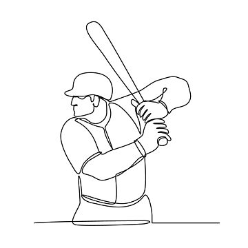 Baseball Player Batting Continuous Line by patrimonio
