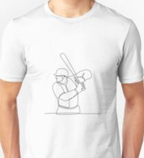 Baseball Player Batting Continuous Line Unisex T-Shirt