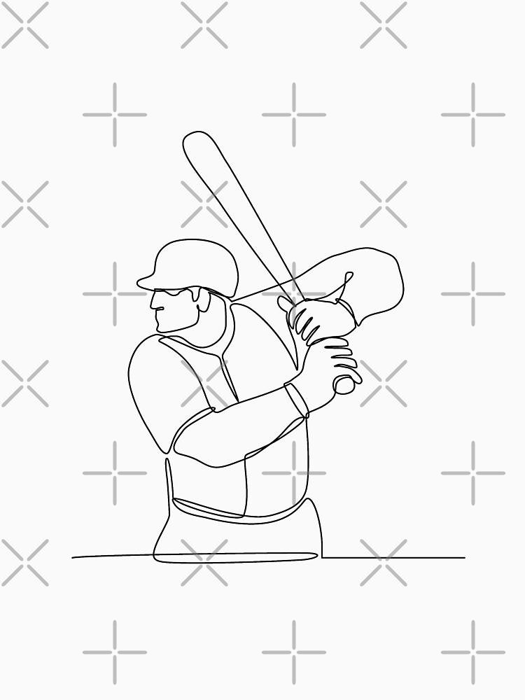 Baseball Player Batting Continuous Line by patrimonio