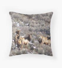 Elk in Sagebrush Throw Pillow