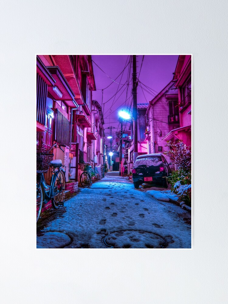 Alternate view of Snow covered Japanese street Poster