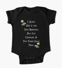 Alice in Wonderland Saying, White text. Short Sleeve Baby One-Piece